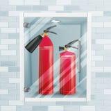 Roter Feuerlöscher im Wand-Nischen-Vektor Asphaltieren Sie Feuerlöscher-Illustration des Glanz-3D realistische rote Stockfotos