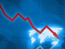 Roter Finanzkrise-Blauhintergrund des Pfeiles Stockbilder