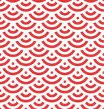 Roter Fischschuppehintergrund von konzentrischen Kreisen Abstraktes nahtloses Muster sieht wie Dachziegel aus Auch im corel abgeh Stockbild