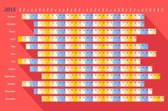 Roter flacher linearer Kalender 2015 mit langem Schatten Stockfotografie