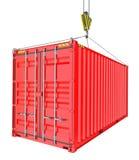 Roter Frachtbehälter hochgezogen durch Haken Lizenzfreie Stockfotografie