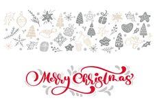 Roter frohe Weihnacht-Kalligraphie-Beschriftungsvektortext mit Winterweihnachtselementen in der skandinavischen Art kreativ lizenzfreie abbildung