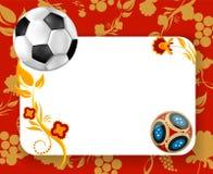 Roter Fußballhintergrund mit Fußball lizenzfreie abbildung