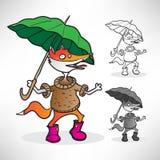 Roter Fuchs in einer Strickjacke, in rosa Stiefeln und in einem grünen Regenschirm im rai Lizenzfreie Stockfotografie