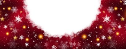 Roter funkelnder Hintergrund mit Sternen und Schneeflocken, die magische Atmosphäre der Weihnachtsfeiertage Roter bokeh Hintergru stock abbildung