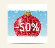 Roter Funkelnweihnachtsball für Weihnachtsverkauf vektor abbildung