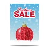 Roter Funkelnweihnachtsball für Weihnachtsverkauf lizenzfreie abbildung