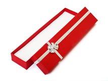 Roter geöffneter Ausschnitt des Geschenkkastens Stockbilder