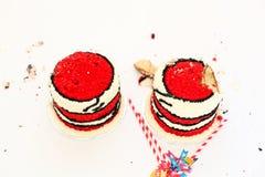 Roter Geburtstagskuchen für Kuchenzertrümmern Lizenzfreie Stockfotos
