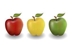 Roter gelber und grüner Apfel Stockfotos