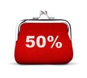 Roter Geldbeutel, Geldbörse mit Nr. 50% lokalisiert auf Weiß, Rabatt Co Stockbild