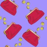 Roter Geldbeutel mit goldenen M?nzen gie?en in ihn, Handgezogene Gekritzelskizze, nahtloser Musterentwurf auf weichem Purpur lizenzfreie abbildung