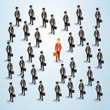 Roter Geschäftsmann-Human Resource Recruitment-Kandidat, Geschäftsleute drängen das isometrische Mietkonzept 3d Lizenzfreie Stockfotografie