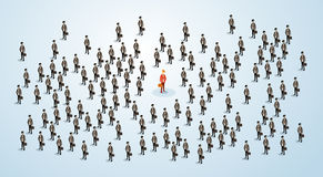 Roter Geschäftsmann-Human Resource Recruitment-Kandidat, Geschäftsleute drängen das isometrische Mietkonzept 3d Stockfoto