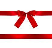 Roter Geschenk-Bogen und Farbband stockfotografie