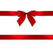 Roter Geschenk-Bogen und Farbband stockfotos