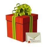 Roter Geschenkkasten mit einer Weihnachtsgrußkarte lizenzfreie abbildung