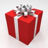 Roter Geschenkkasten mit weißem Farbband Lizenzfreies Stockbild