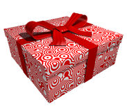 Roter Geschenkkasten - rotes Farbband Stockfoto