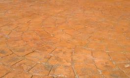 Roter gestempelter konkreter Patio im Hinterhof Stockfoto