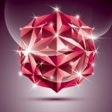roter glänzender Ball der Disco 3D Vektor Fractal, der abstraktes illust blendet Stockfoto
