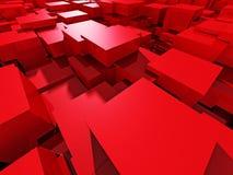 Roter glänzender Block-Bau-Zusammenfassungs-Hintergrund Lizenzfreie Stockfotografie