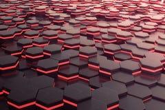 Roter glühender futuristischer Hintergrund des Hexagons Wiedergabe 3d Stockbild