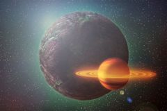 Roter glühender Planet bewegt sich in Weltraum unter den Sternen, abstrac stock abbildung