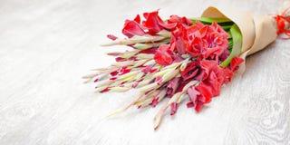 Roter Gladioleblumenstrauß eingewickelt im Papier auf einem hellen hölzernen Hintergrund Lizenzfreie Stockfotografie