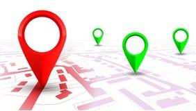 Roter GPS-Navigatorzeiger auf Stadtplan, von Ort zu Ort lizenzfreie abbildung