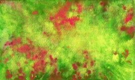 Roter grüner gelber magentaroter Hintergrund Spritzt und mischt herein Aquarell stock abbildung