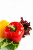 Roter grüner Pfeffer auf Kopfsalatblättern Stockfoto