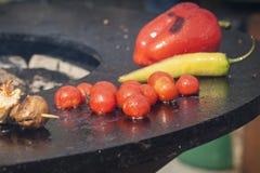 Roter grüner Pfeffer, Tomaten und Paprikapfeffer werden auf dem Grill gekocht Lizenzfreie Stockfotografie