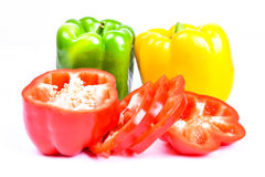 Roter, grüner und gelber Paprika Stockbild