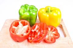 Roter, grüner und gelber Paprika Stockfotografie