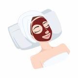 Roter Granatapfel, Erdbeernatürliche Maske auf Schönheits-Gesicht, Illustrations-Vektor-Design Stockbild