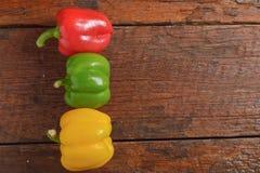 Roter grüner und gelber süßer Pfeffer Stockfoto