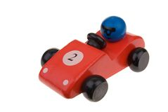 Roter hölzerner Spielzeug-Rennwagen Stockfoto
