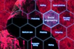 Roter Hacker im Flammengesellschaftswissenschaftskonzept stock abbildung