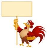 Roter Hahn, der leere Fahne hält Stockfoto