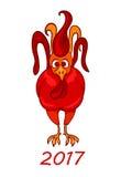 Roter Hahn, Symbol 2017 auf dem chinesischen Kalender Stockbilder