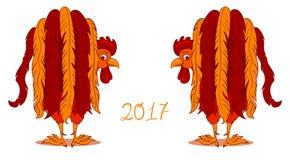 Roter Hahn, Symbol von 2017 auf dem chinesischen Kalender Lizenzfreie Stockfotos