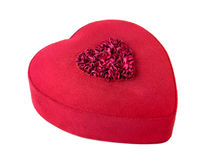 Roter Heart-shaped Geschenkkasten getrennt auf Weiß Lizenzfreies Stockbild