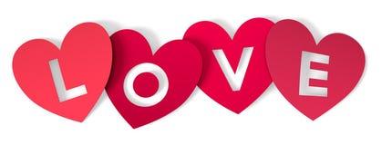 Roter heart-shaped Schmucksachegeschenkkasten und eine rote Spule auf einem Zeichen Stockfotografie