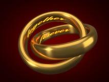 Roter heart-shaped Schmucksachegeschenkkasten und eine rote Spule auf einem Zeichen goldene Eheringe mit graviertem Text nach inn Lizenzfreie Stockfotos