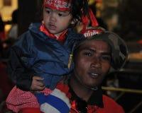 Roter Hemd-Protest in zentralem Bangkok Stockbild