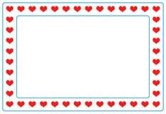 Roter Herzfotorahmen auf lokalisiert Stockfoto