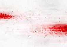 Roter High-Techer Hintergrund des Schmutzes mit Quadraten Stockfotografie