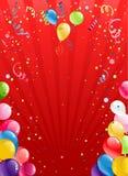 Roter Hintergrund der Feier mit Ballonen Lizenzfreies Stockbild