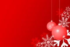 Roter Hintergrund der Schneeflocke mit Kugeln Lizenzfreie Stockfotografie